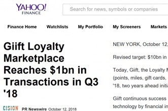 Giift Loyalty Marketplace Reaches $1bn in Transactions in Q3 '18
